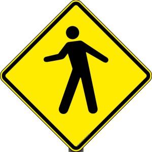 placa de transito de pedestres