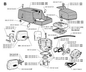 Jonsered 625 (199902) Chainsaw CYLINDER, PISTON & MUFFLER