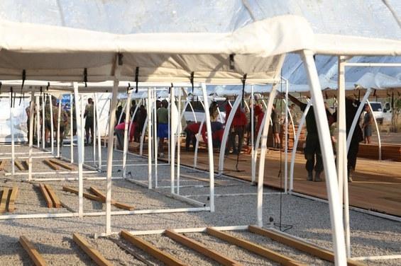 Hangar da Base Aérea de Santos está sendo transformado em Hospital de Campanha Civil: Foto FAB