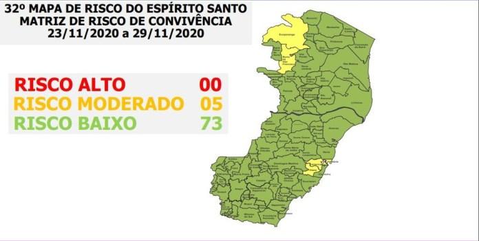 32º Mapa de Risco para a Covid-19 no ES — Foto: Divulgação/ Governo do ES
