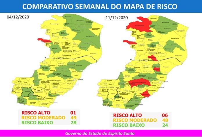 Comparação entre o 34º e o 35º Mapa de Risco para a Covid-19 no Espírito Santo — Foto: Divulgação/Governo ES