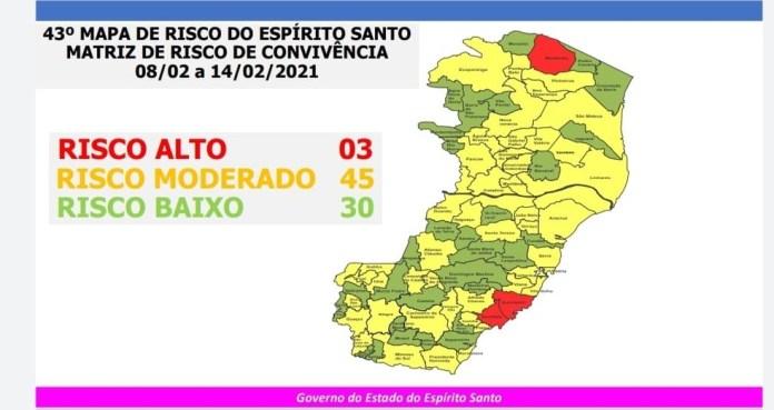 Mapa de risco do ES para a Covid-19 — Foto: Governo do ES