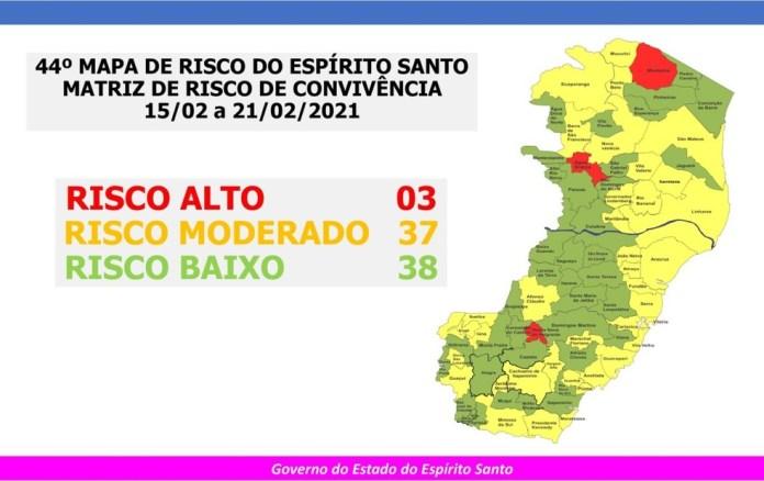43º Mapa de Risco Covid-19 — Foto: Divulgação/ Governo do Estado