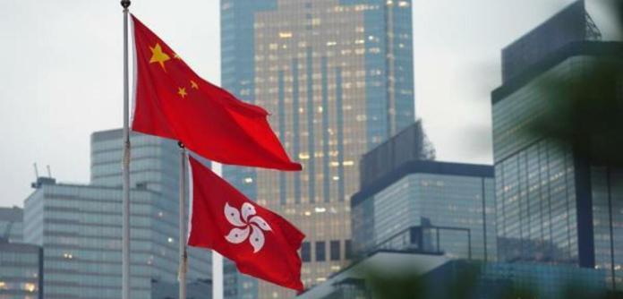 Bandeiras da China e Hong Kong