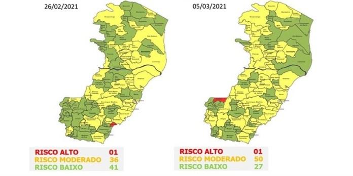 47º mapa de risco Covid-19 do Governo do ES — Foto: Divulgação/ Governo do ES