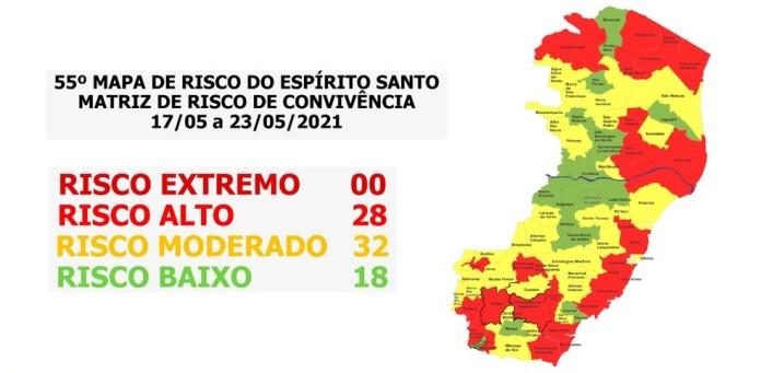 55º Mapa de Risco do Espírito Santo para Covid-19 — Foto: Divulgação/ Secom
