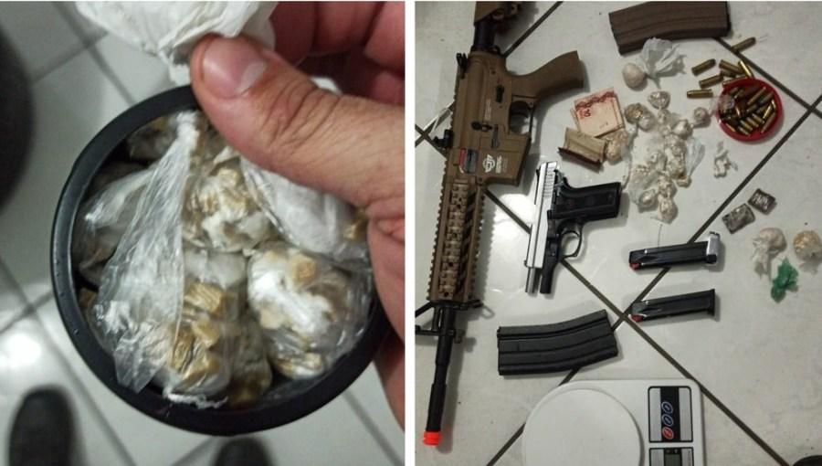 Drogas e armas foram encontradas com dois homens e um adolescente que foram presos em Colatina — Foto: Divulgação