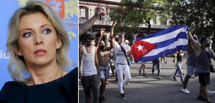 Maria Zakharova e manifestação em Cuba