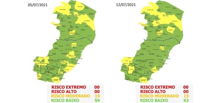 63º Mapa de Risco Covid-19 do Espírito Santo — Foto: Divulgação/ Secom-ES