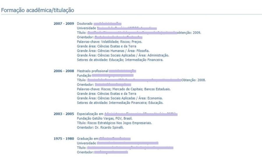 Exemplo de currículo de pesquisador cadastrado na plataforma Lattes, do CNPq — Foto: Reprodução