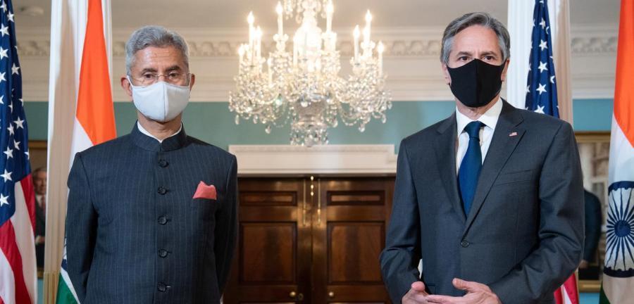 Secretário de Estado dos EUA, Antony Blinken, e o ministro das Relações Exteriores da Índia, Subrahmanyam Jaishankar