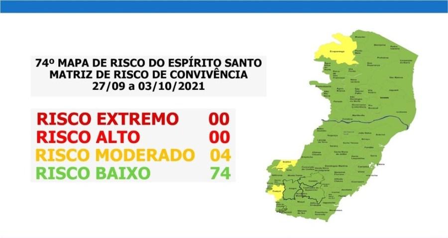 Mapa de risco Espírito Santo — Foto: Divulgação/Governo do Espírito Santo