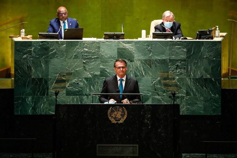 Presidente Jair Bolsonaro discursa na Assembleia Geral da ONU e diz que Brasil vive novos tempos