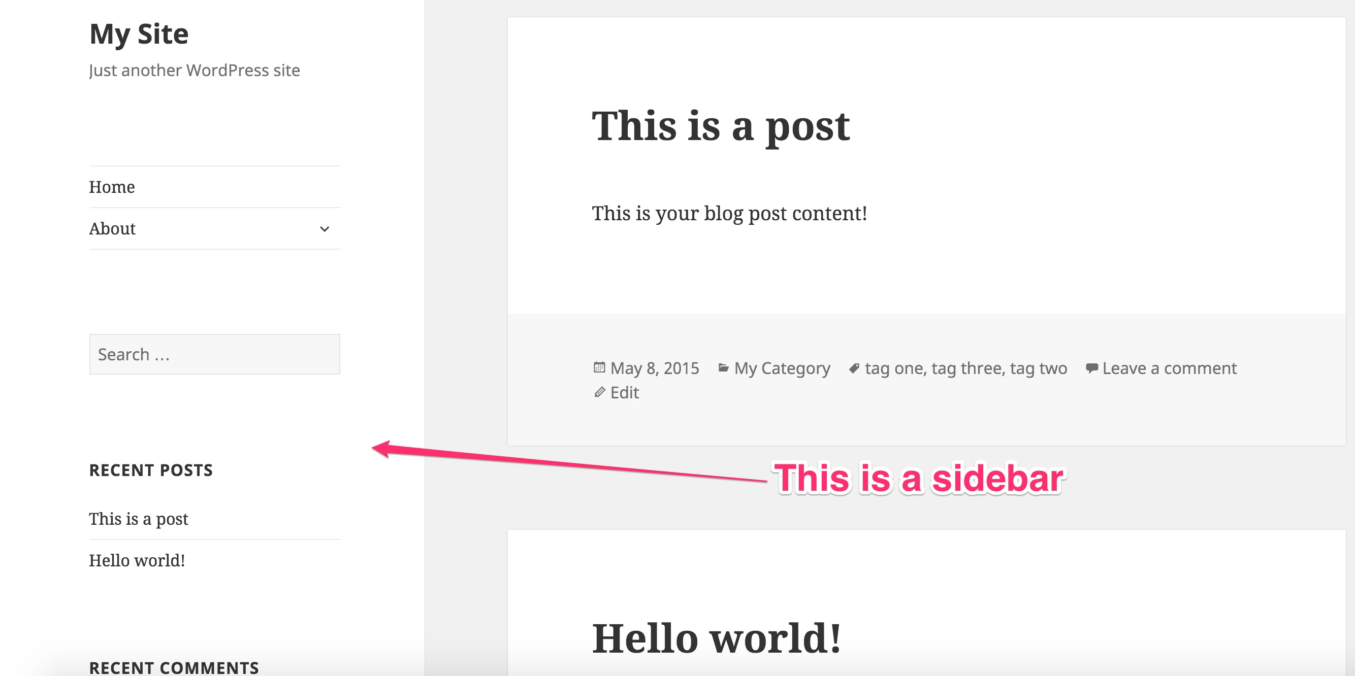 Example of a Sidebar in WordPress