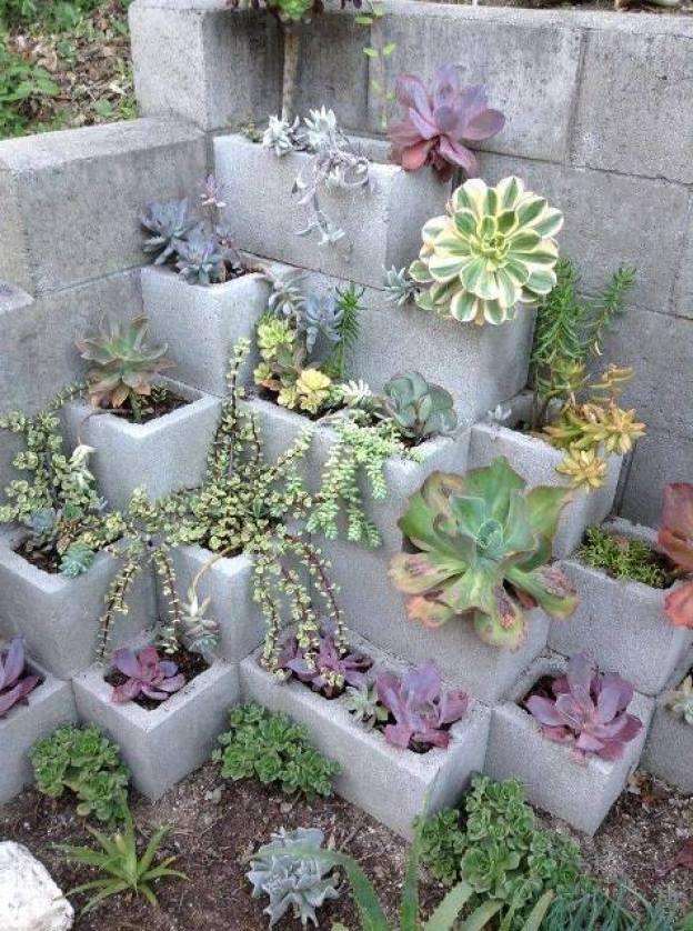 cinder block succulent garden diy