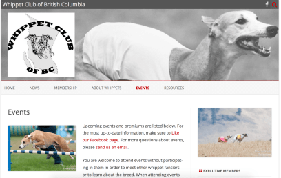 Preview of Whippet Club of BC website