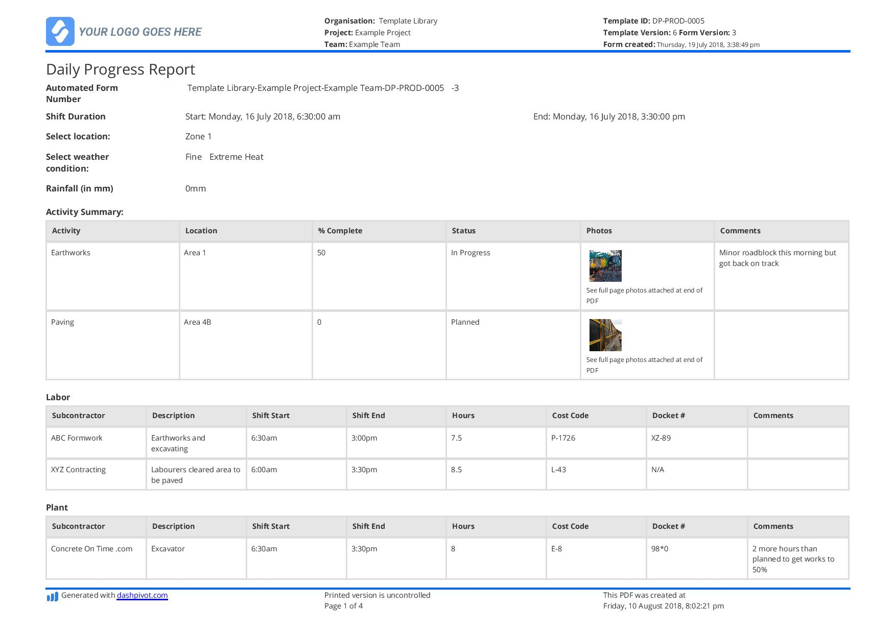 Enter the project's phase and other observations. Free Construction Daily Report Template Better Than Pdf Excel Word