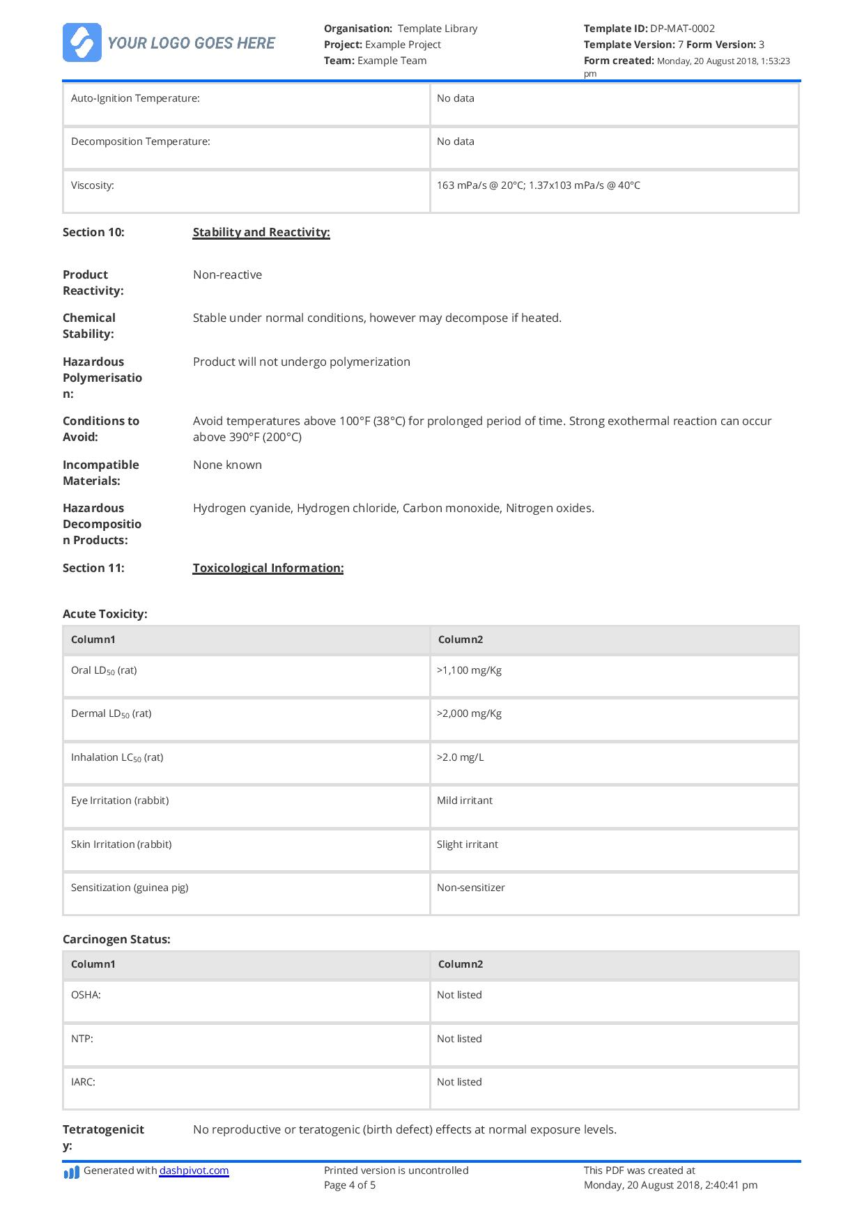 Free Material Safety Data Sheet Template Better Than Word