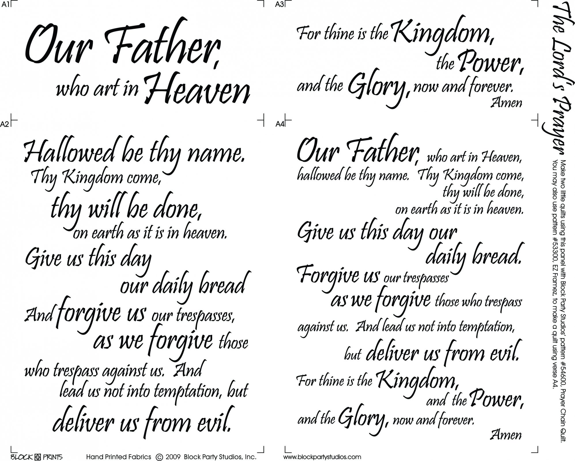 The Lord S Prayer Quilt Fabric Panel