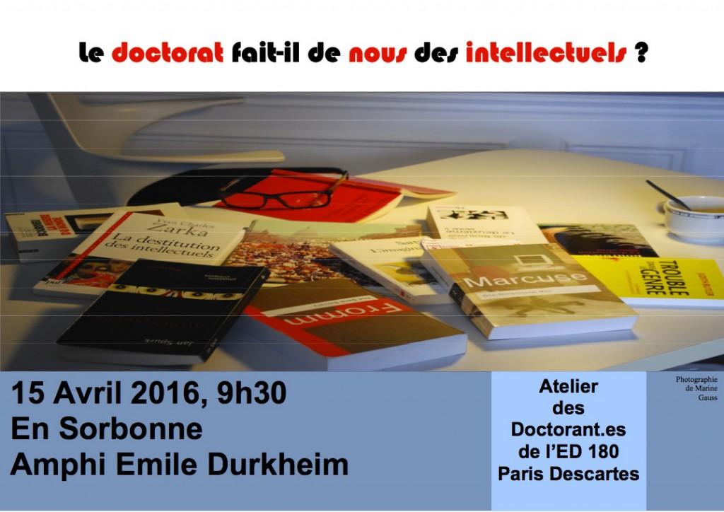 Affiche journée d'études Atelier des Doctorants ED 180 15 avril 2016