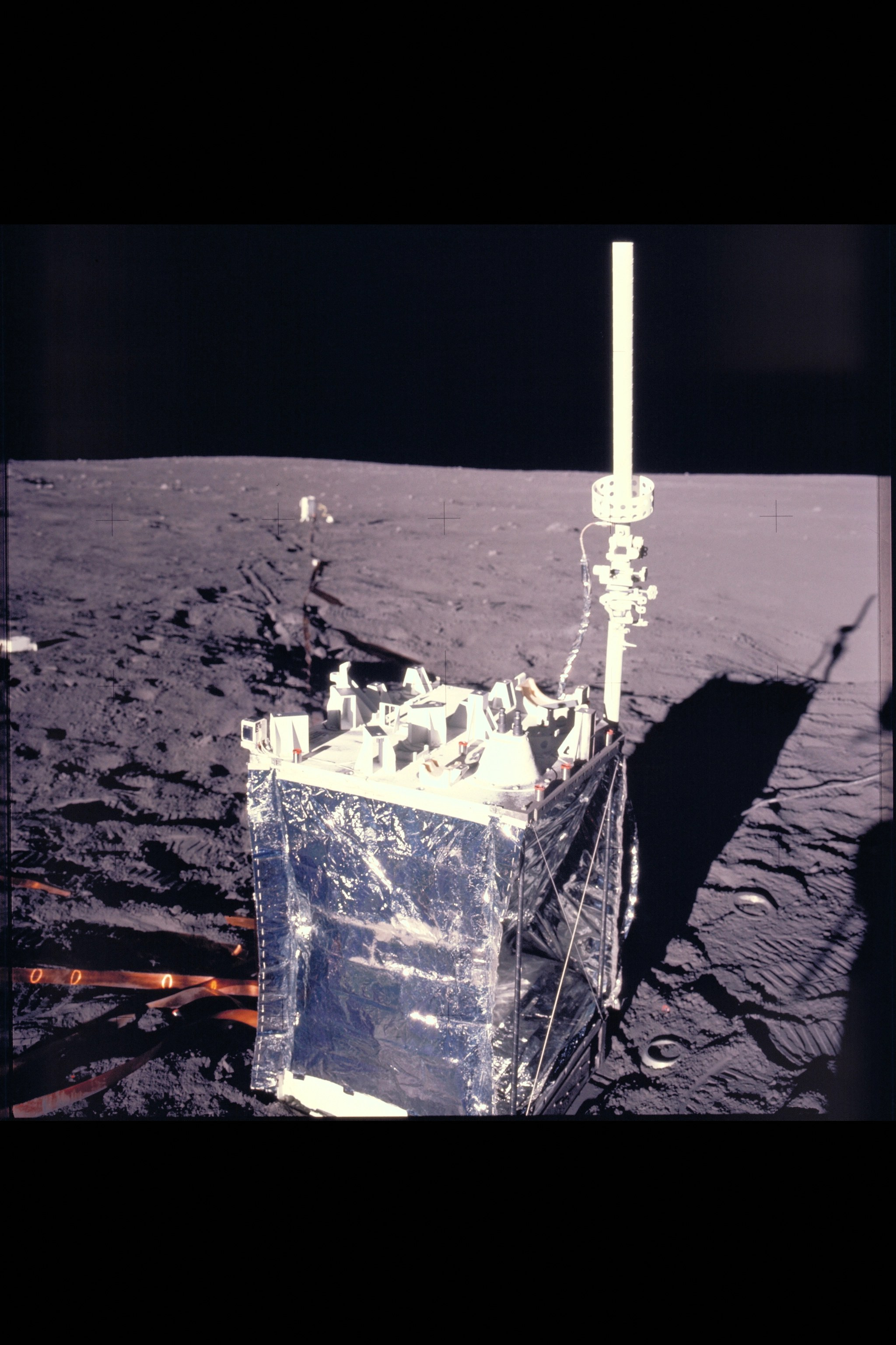 The Lunar Dust Detector, attached to the leftmost corner of this experiment package left by the Apollo 12 astronauts, made the first measurement of lunar dust accumulation. As the matchbox-sized device's three solar panels became covered by dust, the voltage they produced dropped. Credit: NASA