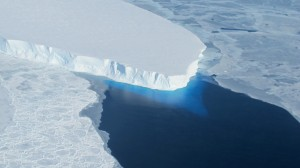 A photo of Thwaites glacier in West Antarctica taken by NASA Operation IceBridge. A new study finds a rapidly melting section of the West Antarctic Ice Sheet appears to be in an irreversible state of decline, with nothing to stop the glaciers in this area from melting into the sea. Credit: NASA