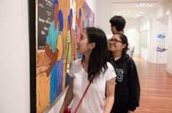 Jia Mei '21 and other Bridge Scholars attend a tour of the Colorado Springs Fine Arts Center at Colorado College led by docents. Photo by Jennifer Coombes