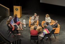 Washburn and Fleck participate in a small-group roundtable with students, faculty, staff and members of the public on stage in Armstrong Hall's Kathryn Mohrman Theatre. Photo by Andy Colwell for Colorado College