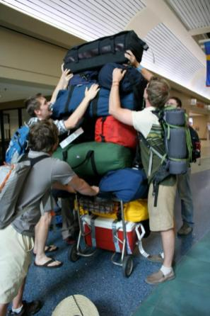 Upon arrival in Reno Airport, students played Jenga with their luggage while the vehicle-rental arrangements were taken care of by the profs.