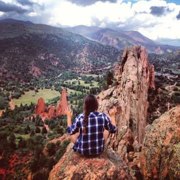 Riggio's roommate, Katherine Guerrero '17, pauses for refreshment at Garden of the Gods.