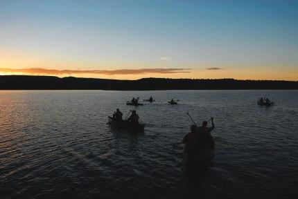 CC alumni enjoyed paddling at sunrise on a lake on Ghost Ranch's 21,000 acres.