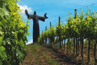 : A sculpture of St. Francis of Assisi towers over the vineyard of CC alumnus Tim Grace '87 at Il Molino di Grace, located just south of Panzano, in the heart of Tuscany's Chianti Classico region.