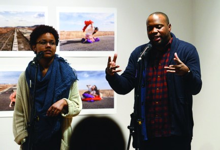 """The UCCS Galleries of Contemporary Art hosted CC's spoken word performer, playwright, essayist and Hip Hop artist Idris Goodwin and flutist and composer Jane Rigler at the downtown GOCA121 gallery. Goodwin and Rigler presented two separate performances, both in response to the current exhibit âA Body in Fukushimaâ featuring photography and video by CC's Eiko Otake and William Johnston. Goodwin performed solo and along with Colorado College students as """"Idris Goodwin & the Vocabâ. Nice job!"""