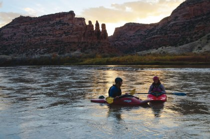 MOLLIE PODMORE '17 and KATHRYN JACARUSO '17 kayak on the Ruby-Horsethief section of the Colorado River near the Utah and Colorado border in Fall 2014. Photo by WILLIAM SARDINSKY '17