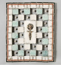 EllaMaria Ray '85Denver, COLegacy, 2016Quilt: clay, underglaze, metal leaf, Mason stain, and wire