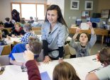 """Olivia Martinez '20 said some of the """"spirit stuff"""" was her favorite part of the Catamount Center's TREE Semester program. One of those moments happened when she was leading an art project that involved tracing an animal and making a stamp out of it."""