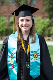 Abigail Censky wears a stole representing her Southwest Studies degree.