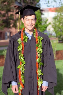 """Chris Bunn said his parents brought him his """"cord,"""" a long string of florals, to represent his home state of Hawaii."""
