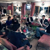 Trustee Marc St John '80 hosts students for an end-of-trip dinner at his home outside London.