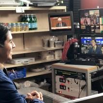 Daniel Lopez '19 practices for his big break in journalism at the NBC News London bureau.