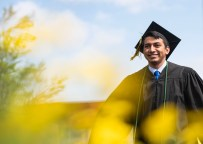 Colorado College's Class of 2019 participate in their graduation ceremony in Colorado Springs on Sunday, May 19, 2019. Pictured is Miguel Mendez. Photo by Jennifer Coombes