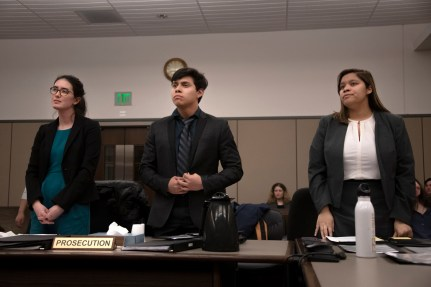 The prosecution rises during a mock trial practice on Tuesday, February 18, 2020 at the El Paso County Combined Courts. Colorado College hosts the regional mock trial tournament this weekend. (Photo by Katie Klann)