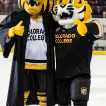 During the DU vs CC Gold Pan game on March 6, fans saw CC mascot Prowler graduate from college and the introduction of the new CC mascot RoCCy.