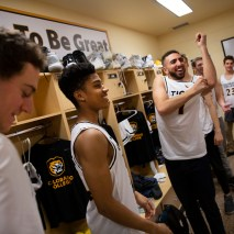 Nabeel Elabdeia, right, tries on his new basketball jersey on Friday, February 7, 2020 at El Pomar Sports Center in Colorado Springs, Colorado. (Photo by Katie Klann)