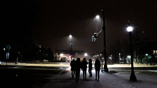 Students walk across a snowy campus during Block 5. Photo by Skye Schelz '21