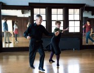 Marcia Dobson and J.L. Riker teach a ballroom dancing class in Cossett Hall that is open to students and staff alike. The class focuses on dance techniques for various dance styles. (Photo by Jennifer Coombes)
