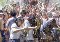 Champagne shower at Earle Flagpole