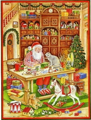 Victorian Style Advent Calendar Christmas Card Greeting