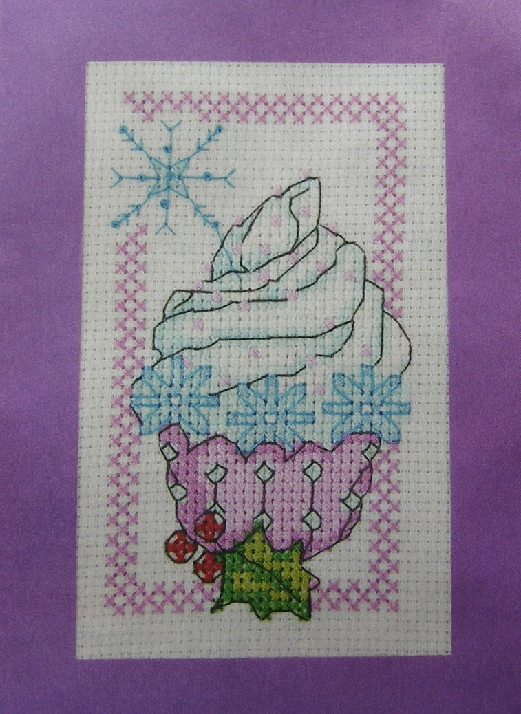 Snowflake Winter Christmas Cupcake Food Card Cross Stitch