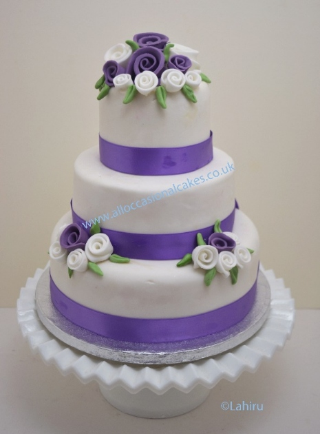 Cakes for all occasions  budget Wedding cakes  low priced wedding     Lilac and White Rose Wedding Cake  3 tier from      165  bristol wedding cakes
